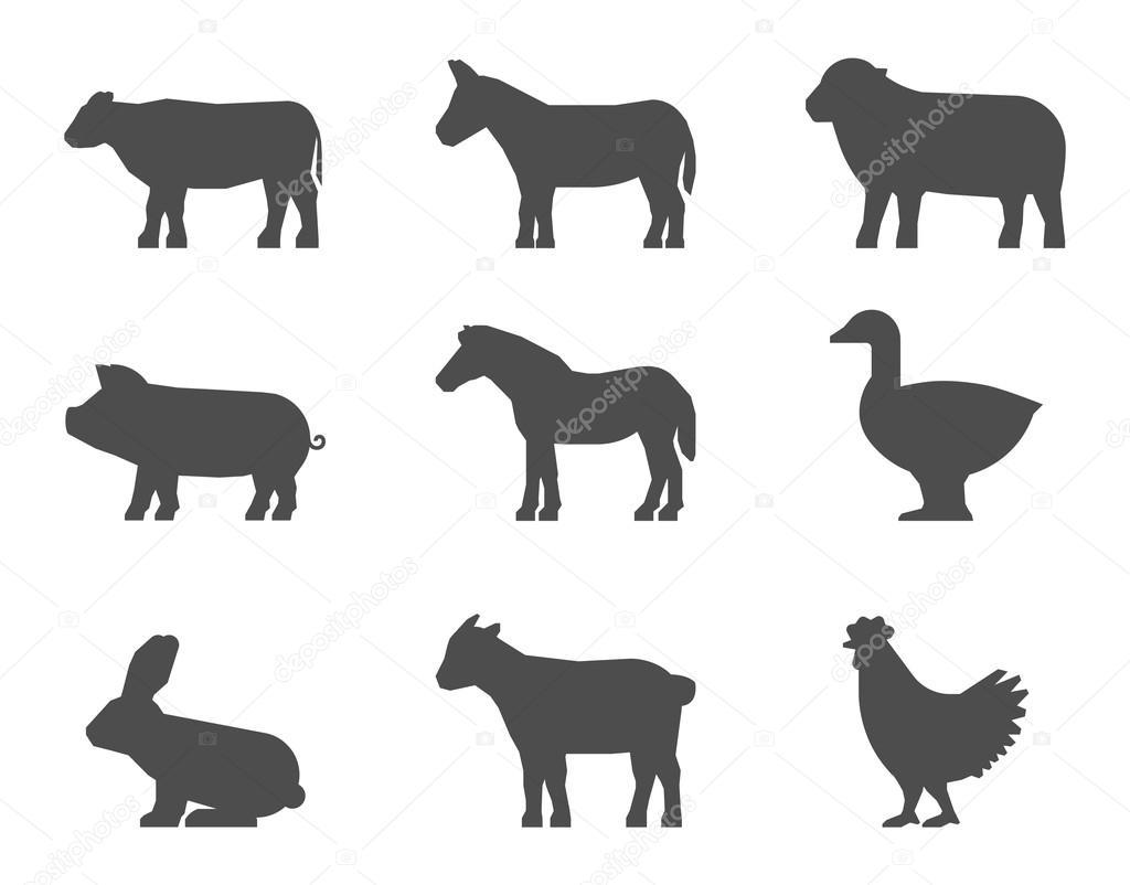 Negro Conjunto De Siluetas De Animales De Granja En Un