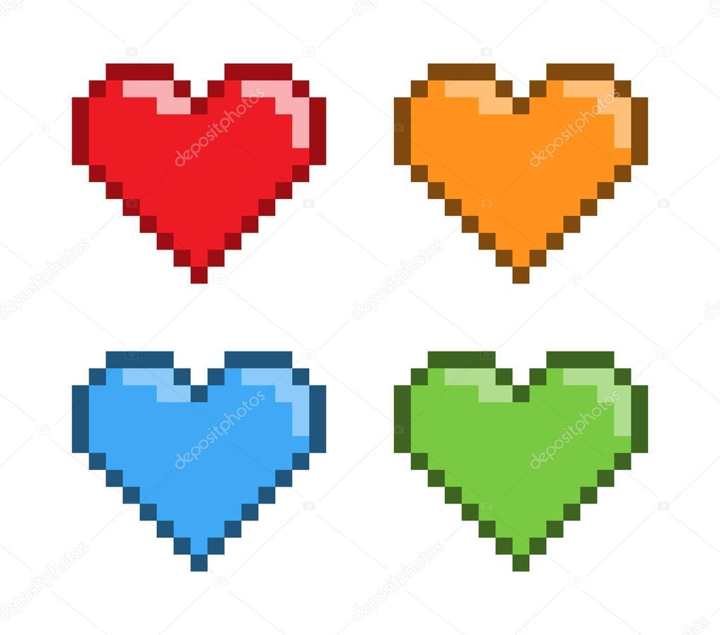 Vector Pixel Art Red Heart For Games Stock Vector