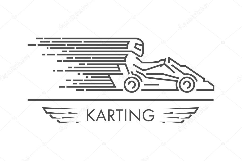 Vector Linear Gokart Go Kart Logo Und Symbol Stockvektor