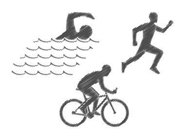 Vector pencil logo triathlon. Black figures triathletes on a whi
