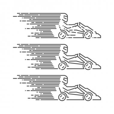 Vector thin linear go kart logo and icon. Line figures kart race