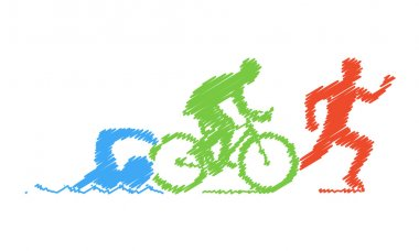 Colored pencil drawing of the logo triathlon. Figures triathlete