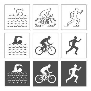 Vector logo triathlon. Flat figures triathletes on a white backg