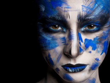 woman with fantasy blue  make up