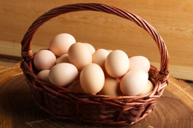 Eggs in the wooden basket neatly folded and ready for the Easter holiday. Chicken eggs stock vector