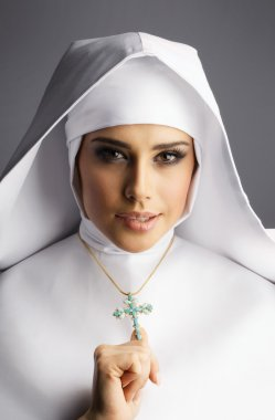 Portrait of young sexy nun