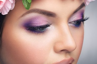 Close up woman with bright make up