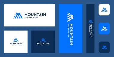 combination of the letter M logo with mountain and investment shapes. icons for business luxury, finance, investment, elegant, simple. Premium Vectors.