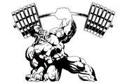 Photo bodybuilder one-hand press heavy weight
