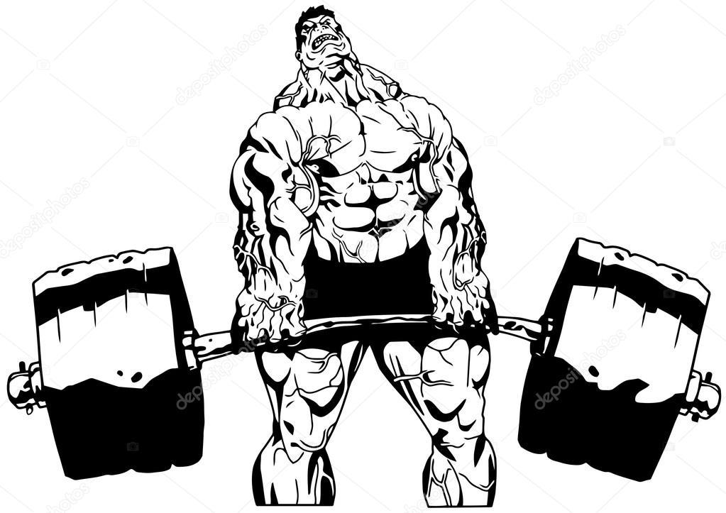 Muscular Bodybuilder Workuot With Weight