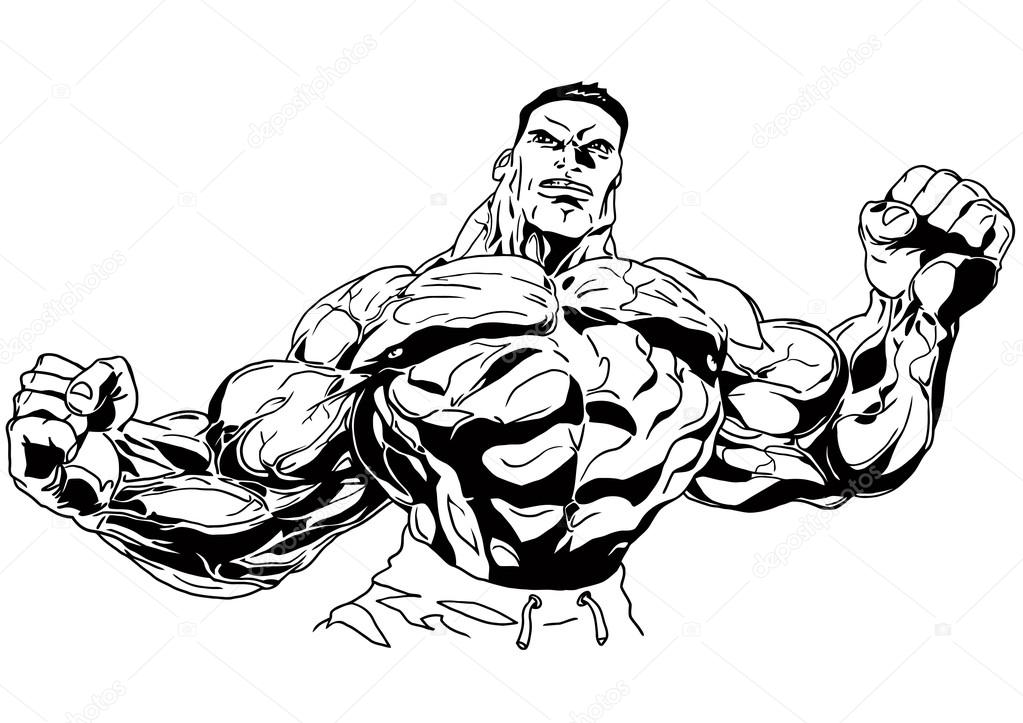 Bodybuilder muscular torso stock photo orrlov 74819611 - Cartoon body builder ...