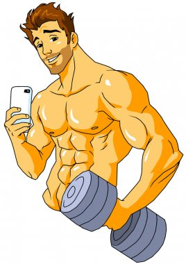 bodybuilder taking a selfie in the gym