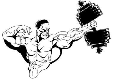 Muscular bodybuilder with dumbbells