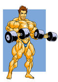 Photo bodybuilder training with dumbbells