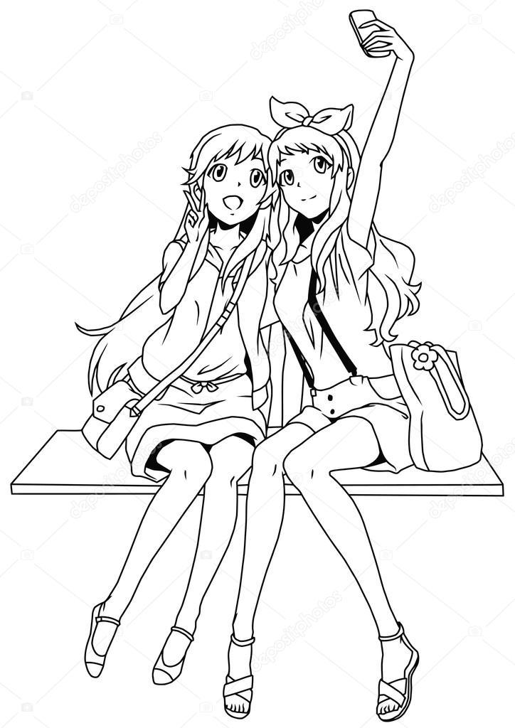 dos chicas de moda tomando un selfie — Fotos de Stock © orrlov #84785770