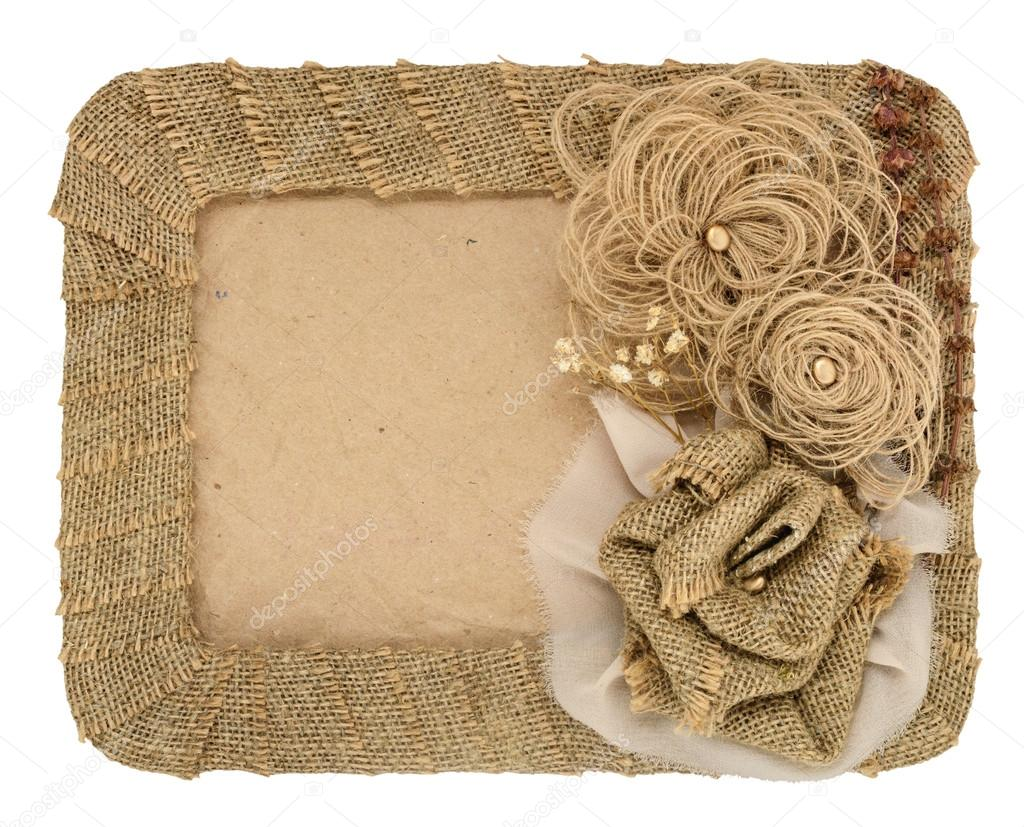 The frame is made of burlap and a rose with space for text isolated ...