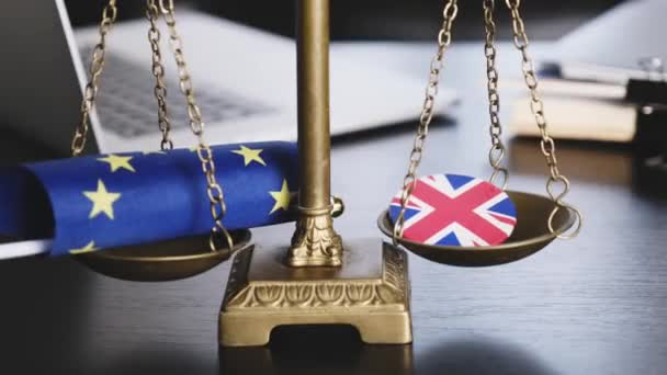 Brexit, European Union Flag With Great Britain Flag on a Jacket Icon Together on a Scales.