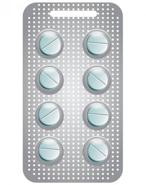 Illustration of a pack of round pills, isolated on white. Tablets on white background icon