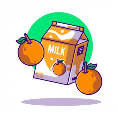 Orange and Milk Box Vector Cartoon Illustration. World Milk Day Icon Concept White Isolated. Flat Cartoon Style Suitable for Web Landing Page, Banner, Sticker, and Background icon