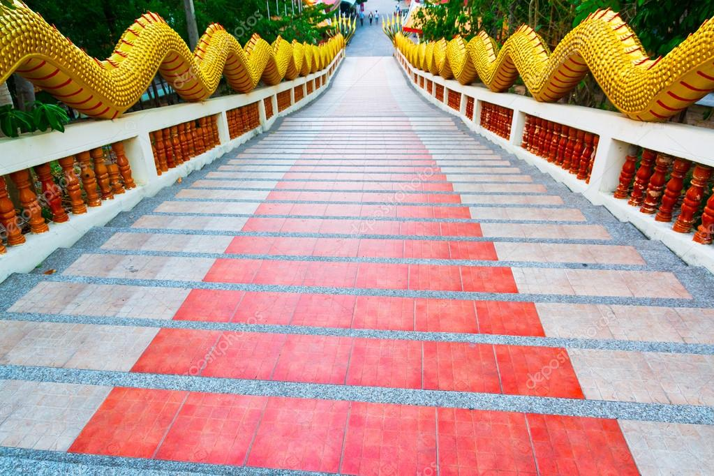 Red Staircase View From Above Big Buddha Pattaya Thailand Stock