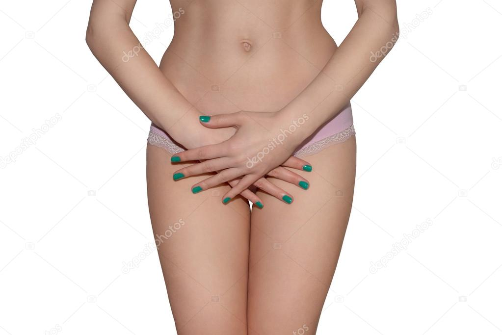 clients first super popular to buy Woman in pink panties holding her crotch — Stock Photo ...