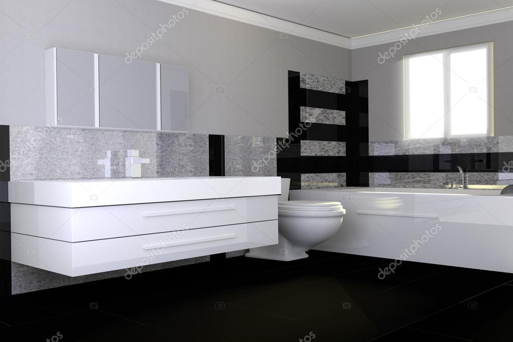 Bagno Moderno Bianco E Nero.Bagno Moderno Con Pietra Di Granito Bianco E Nero Foto Stock