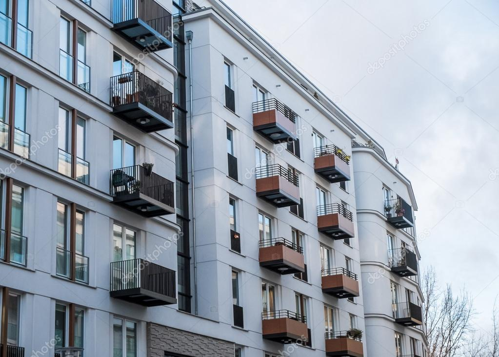 Nice Modern Apartment Building With Small Balconies U2014 Stock Photo
