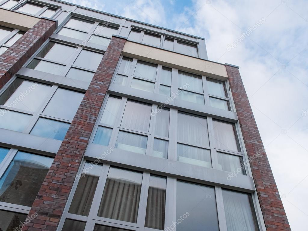 Modern Brick Building With Large Windows U2014 Stock Photo