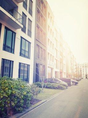 "Картина, постер, плакат, фотообои ""urban apartments on street with bright sunlight"", артикул 95817704"