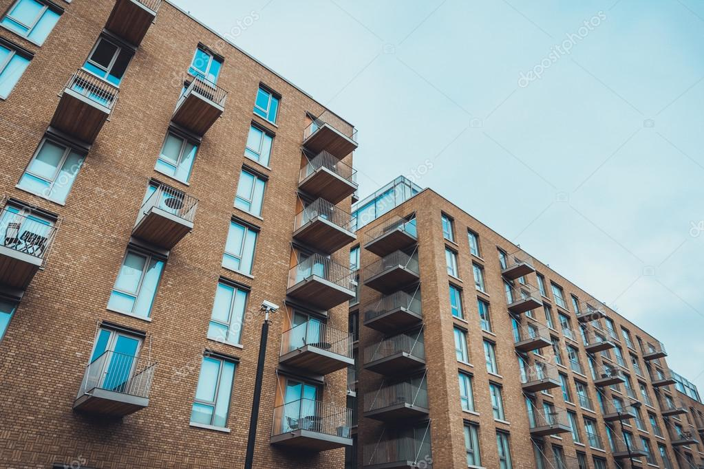 Bon Modern Brick Apartment Buildings With Balconies U2014 Stock Photo