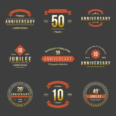 Vector set of anniversary signs, symbols. Ten, twenty, thirty, forty, fifty years jubilee design elements collection.