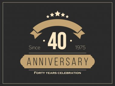 Forty years anniversary celebration logotype. 40th anniversary logo.