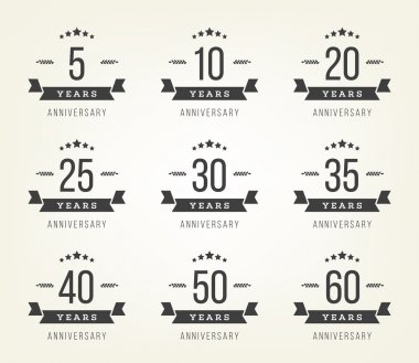 Vector set of anniversary signs, symbols. Five, ten, twenty, thirty, forty, fifty years jubilee design elements collection.