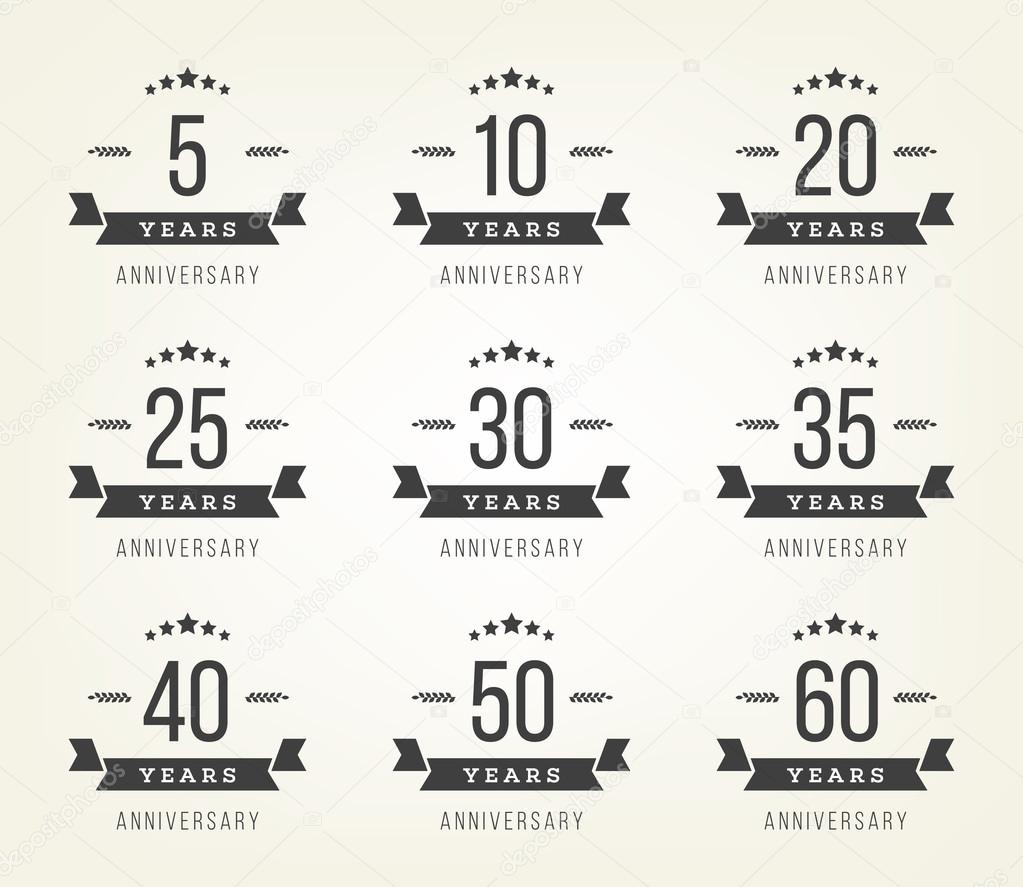 Vector set of anniversary signs symbols five ten twenty thirty vector set of anniversary signs symbols five ten twenty thirty forty fifty years jubilee design elements collection vector illustration biocorpaavc Choice Image