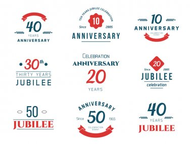Set of anniversary signs, symbols. Ten, twenty, thirty, forty, fifty years jubilee design elements collection.