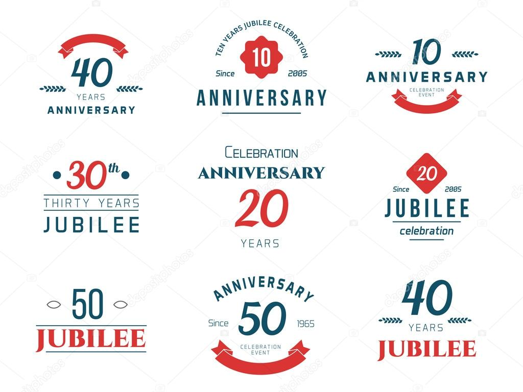 Set of anniversary signs symbols ten twenty thirty forty fifty set of anniversary signs symbols ten twenty thirty forty fifty years jubilee design elements collection vector illutration vector by aieps biocorpaavc Choice Image