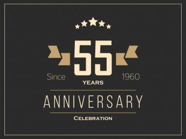 Fifty five years anniversary celebration logotype. 55th anniversary logo.