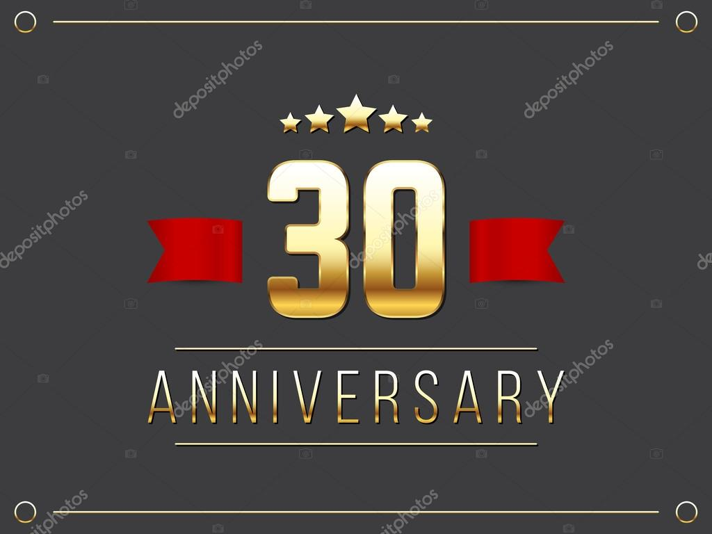 Thirty years anniversary celebration logotype. 30th anniversary logo