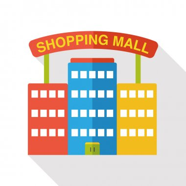 shopping mall flat icon