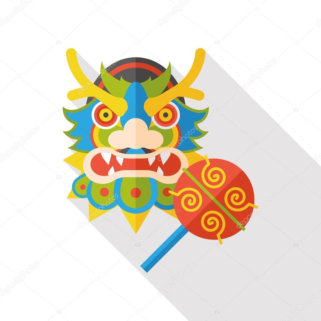 Año nuevo chino dragón y León bailando de cabeza plana de icono ...