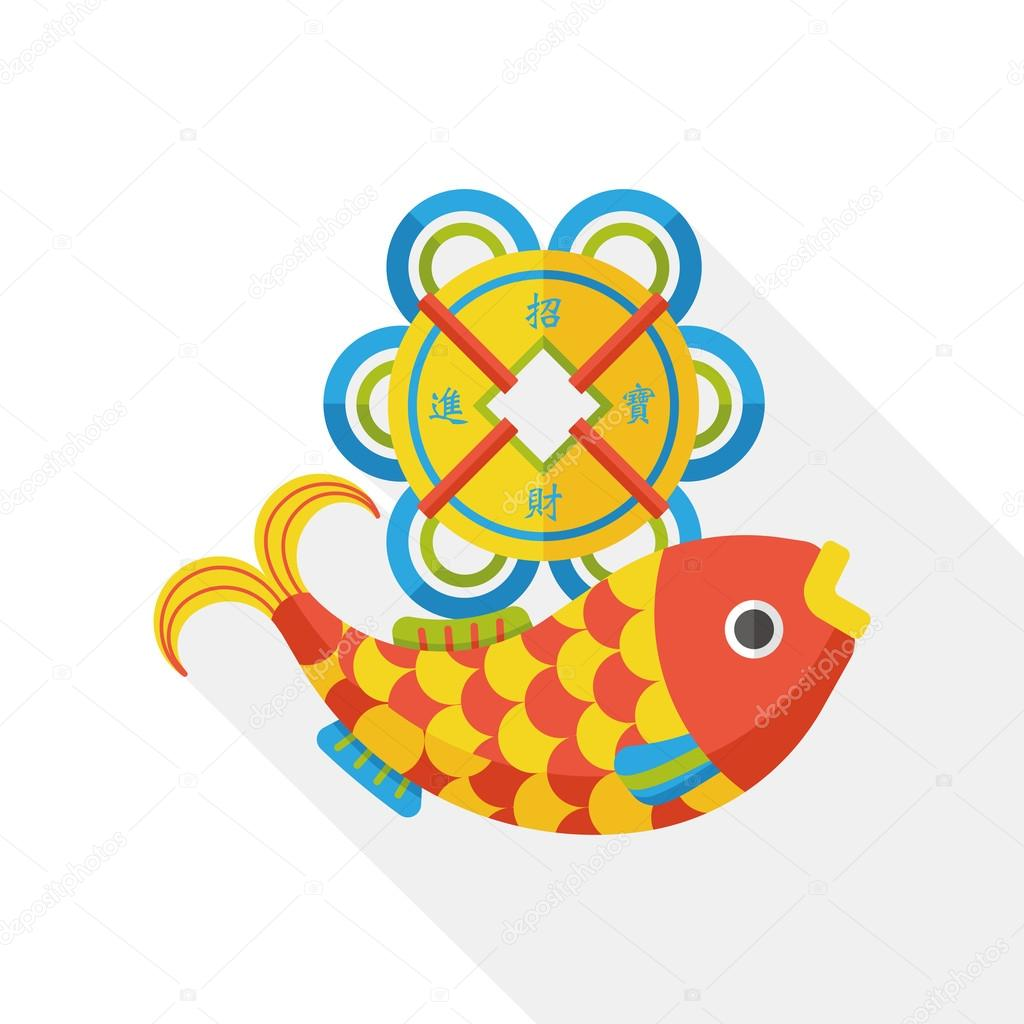 Chinese new year fish lucky pendant flat icon stock vector chinese new year flat icon chinese fish lucky pendant means may you always get more than you wish for vector by yitewang buycottarizona Gallery