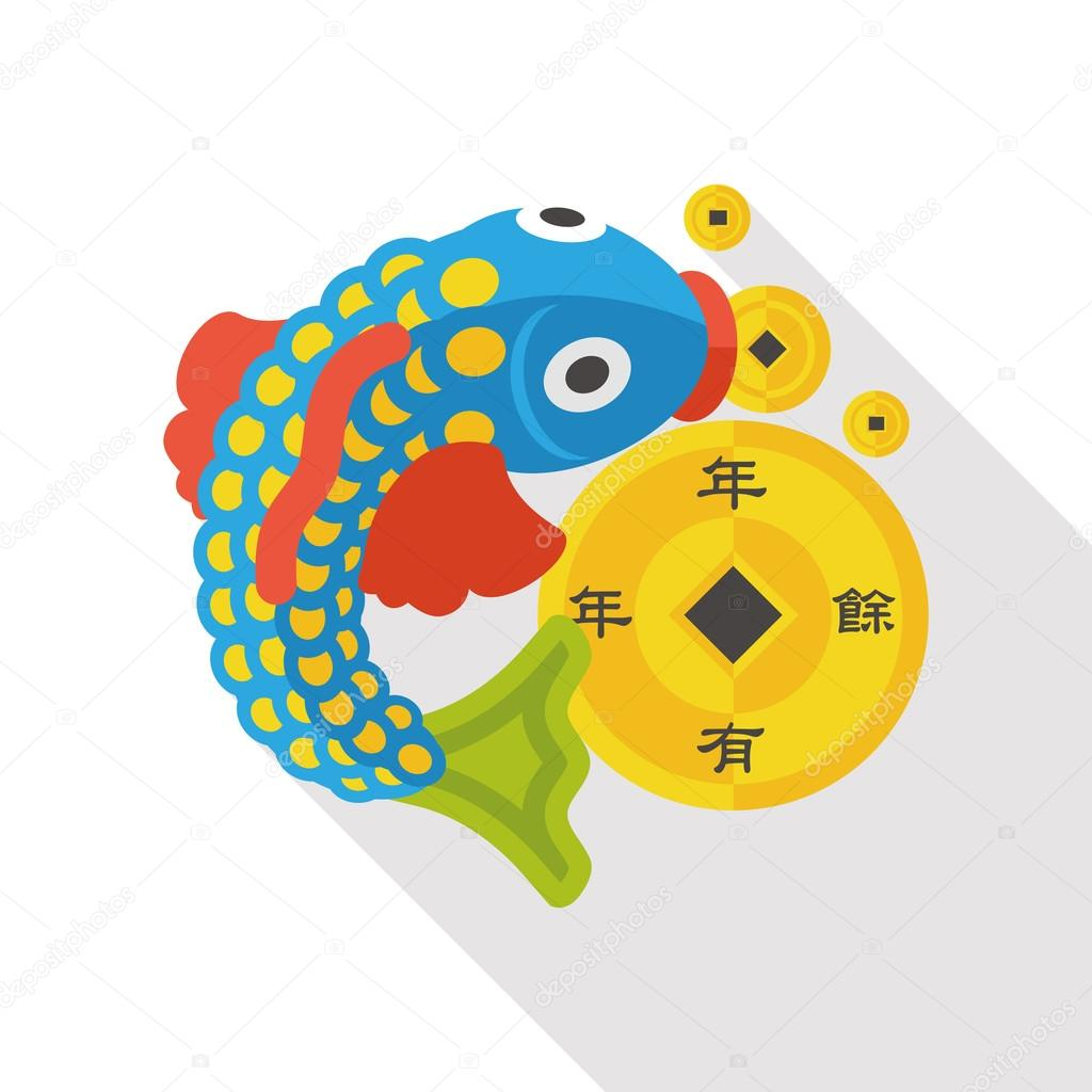 Chinese new year fish lucky pendant flat icon stock vector chinese new year flat icon chinese fish lucky pendant means may you always get more than you wish for vector by yitewang buycottarizona Images