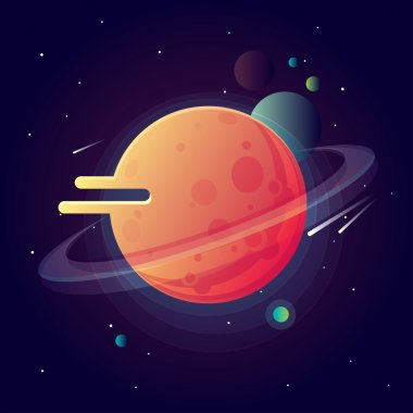 Universe with bright colorful planets and speeding comets. Outer space vector illustration in modern contemporary design clip art vector