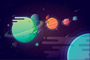 Solar system planets on universe background