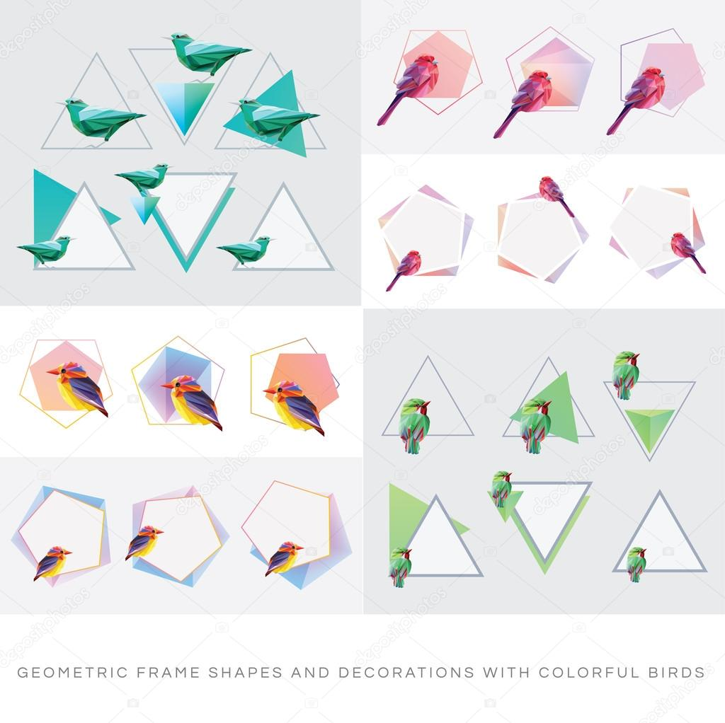 69ef6161b1 Large collection of geometric minimal frame shapes and decorations with  colorful birds. Four seasons concept theme — Vector by DianaHlevnjak