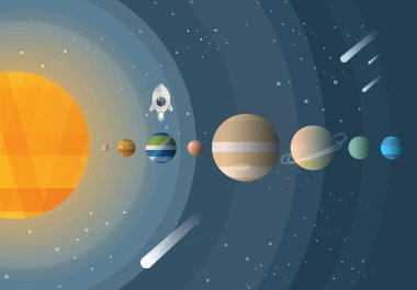 Abstract universe wallpaper with planets