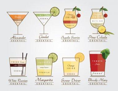 Set of flat designed alcoholic cocktails