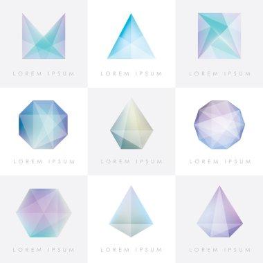 Set of  facet crystal gem icons