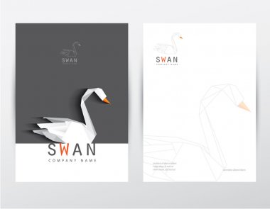 Set for corporate identity with poly swan