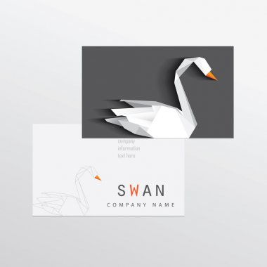 Corporate identity business card with swan